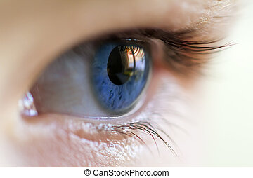 Close-up image of blue human eye with eyelashes