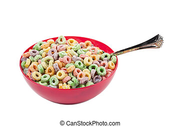 bowl of colorful cereal with spoon