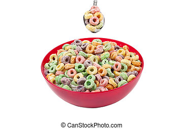 colorful cereal in red bowl