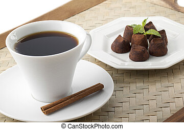 cup of coffee in plate with chocolate candies