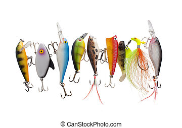 colorful fishing lures - Close up image of different and ...