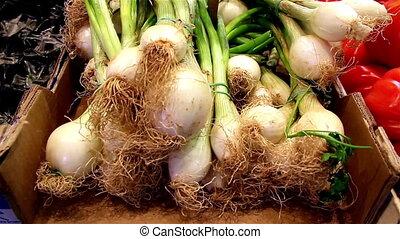 Close up image of eco spring onions - Close up image of...