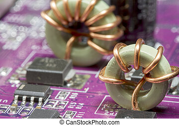Close up image of electronic circuit board