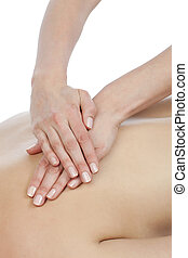 female having back massage