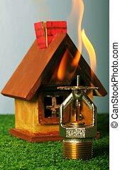 Close up image of fire sprinkler. Fire sprinklers are part...