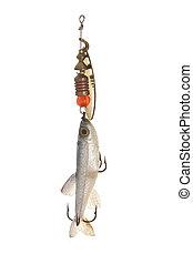 fishing bait - Close up image of fishing bait against white ...