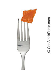 fork with cheddar cheese
