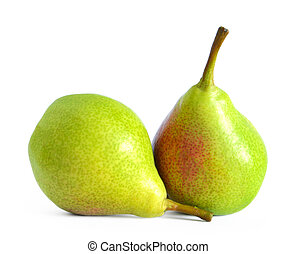 Fresh Ripe Pears Isolated on the White Background