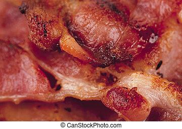 close up image of fried bacon