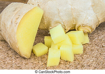 Close up image of ginger root.