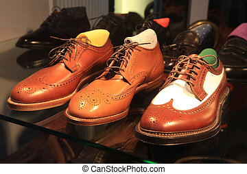 classic leather shoes in a shop