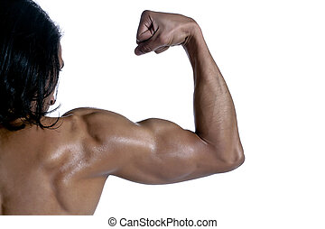 masculine bicep of a guy - Close up image of masculine bicep...