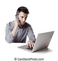 Close up image of multitasking busi