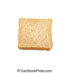 Close-up image of one slice of white bread against the white background