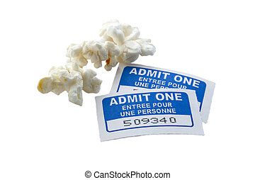 pieces of popcorn with movie ticket