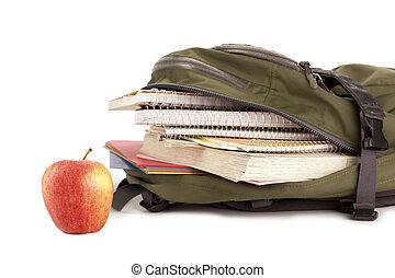 school bag with apple