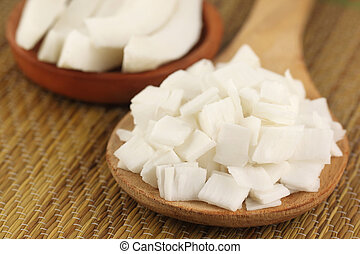 Close up image of sliced coconut