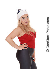 Close up image of smiling woman with a Santa hat