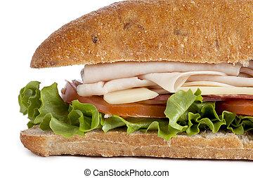 close up image of turkey sandwich - Close-up cropped image...