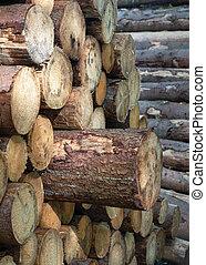 Close up image of wood pile