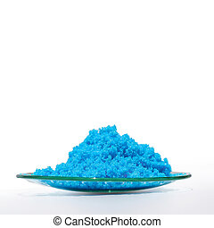 Close up inorganic chemical on white laboratory table. Copper(II) sulfate.