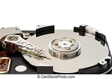 """Close up inside of 3.5"""" computer hard disk drive HDD isolated"""
