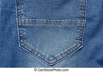 Close up jeans pocket. Denim blue background color
