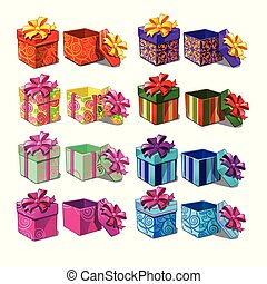 close-up, jogo, illustration., presente, grande, isolado, experiência., caixas, vetorial, branca, caricatura