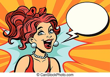 Close-up joyful woman. Comic book cartoon pop art retro ...