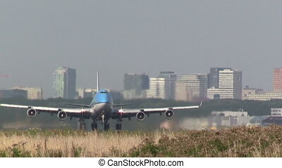 Close up, jumbojet taking off - This is high quality HD...