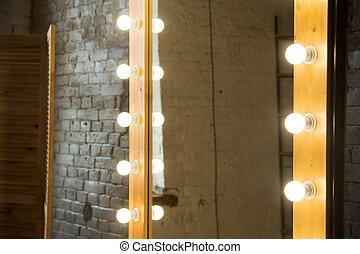 close-up, kamer, muur, groot, spiegel, baksteen