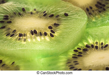 Close up kiwi slices background