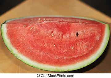close-up, kwart, watermeloen, rijp