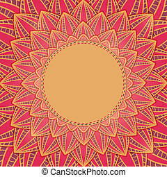 Close-up Large Flower Greeting Card. Red Vector Illustration