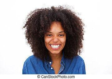 Close up laughing african american woman isolated on white background
