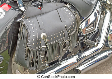 Leather Motorcycle Bag - Close-up Leather Motorcycle Bag. ...