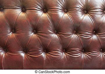 Close up leather sofa