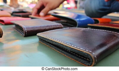 leather wallet background - close up leather wallet...