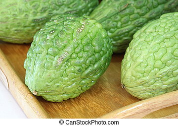 close up leave of Chayote in garden