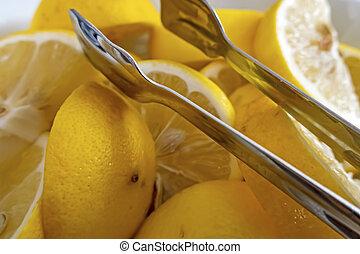 close up lemon slices on a plate