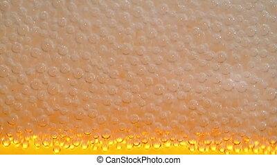 close-up., lent, -, hd, bière, mousse, mouvement