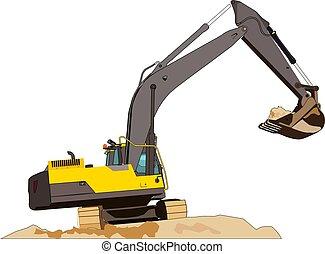 close-up, local construção, escavador