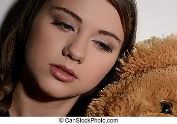 close-up, lonely., afastado, adolescente, olhar, chorando, ...