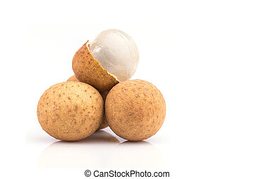 Close up longan isolated on white
