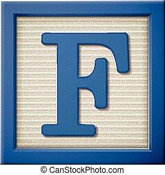 3d blue letter block f
