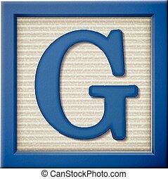 3d blue letter block G