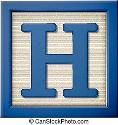 3d blue letter block H