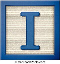 3d blue letter block I