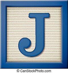 3d blue letter block J