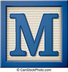3d blue letter block M